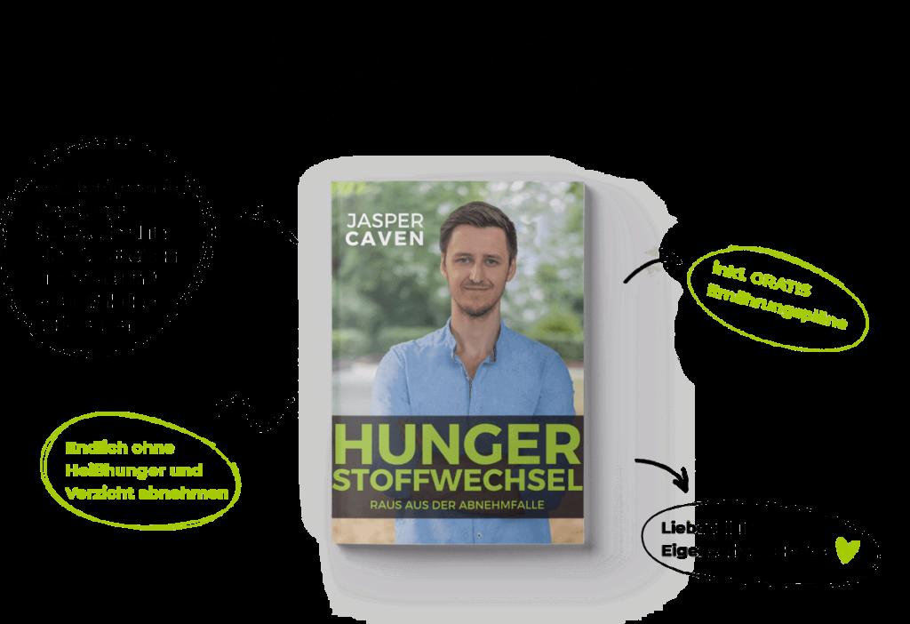 """Abnehmen aber wie? Jasper Cavens """"Hungerstoffwechsel - Raus aus der Abnehmfalle"""" mit Schritt-für-Schritt Anleitung zum Erfolg."""
